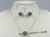 spset025 sterling silver Black shell pearl pendant& earrings jewelry set