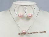 spset027 sterling Pink shell pearl pendant& earrings jewelry set in wholesale