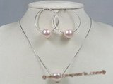 spset028 Pink seashell pearl pendant&hoop earrings jewelry set