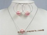 spset029 seashell pearl pendant necklace&earrings set in wholesale