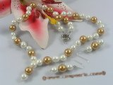 spset034 white and champagne sea shell pearl Y style necklace earrings set
