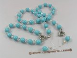 spset036 10mm Turquoise color shell pearl & crystal necklace jewelry set