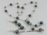 spset037 Sterling Black sea shell pearl& faceted crystal necklace earrings set