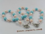 spset038 10mm pink & turquoise color shell pearl necklace bracelet set