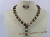 spset041 12mm coffee sea shell pearl necklace& earrings set