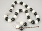 spset043 14mm black shell pearl alternated white tridacna bead necklace earrings set on sale