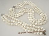 spset045 Triple rows 10mm white shell pearl necklace bracelet set in  wholesale