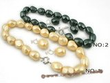 spset046 16*20mm nugget shell pearl Princess Necklace& earrings set