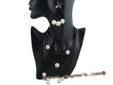 spset052 Black leather thong necklace with sea shell pearls inlaid with zircon