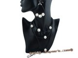 spset053 Black leather thong moveable sea shell pearls necklace for Xmas gift
