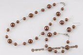 Spset069 Trendy Coffee Color Round Shell Pearl Bridal Jewelry Set