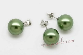 Spset075 Green Round Shell Pearl Pendant & Earrings Jewelry Set