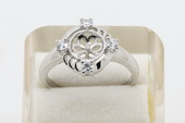 srm017 Stylish blooming flower sterling silver Ring Setting on sale,US size 7