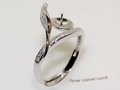 Srm044 sterling silver ring setting in open band design for adjust size