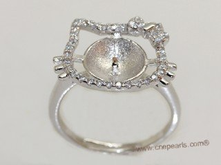 srm073 Fashion sparkling sterling silver Ring Setting in adjustable size