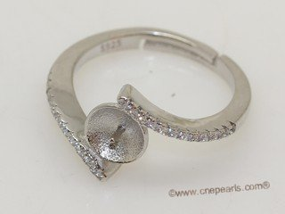 srm080 Fashion sparkling sterling silver Ring Setting in adjustable size
