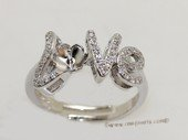 srm082 Fashion sparkling sterling silver Ring Setting in adjustable size