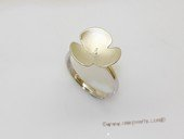 srm126 Fashion Leaf Design 925 Silver Adjustable Ring Setting