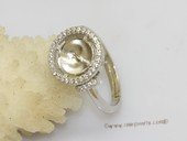 srm128  Fashion Circle Design 925 Silver Adjustable Ring Setting