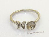 srm148 Fashion  butterfly Style 925 Silver Adjustable Ring Setting