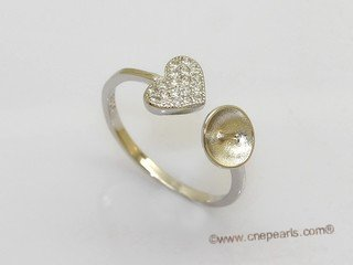 srm151 sterling silver heart style  adjustable size ring setting