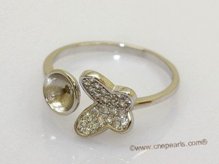 srm153 sterling silver butterfly design  adjustable size ring setting