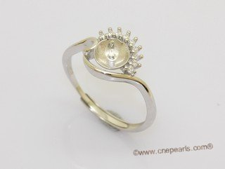 srm190  Wholesale adjust size sterling silver ring setting with zircon beads