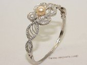 ssb134 Freshwater Pearl Sterling Silver Cuff Bangle Bracelet