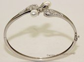 ssb135 Freshwater Pearl Sterling Silver Cuff Bangle Bracelet