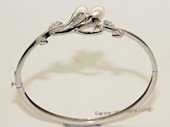 ssb136 Freshwater Pearl Sterling Silver Cuff Bangle Bracelet