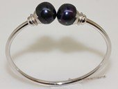 ssb151 Freshwater Pearl Sterling Silver Cuff Bangle Bracelet