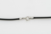 ssc019 16 inch black rubber cord chain 925silver Spring ring clasp
