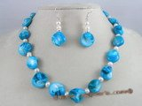 SSET002 sky bule nugget shell  shell necklace set with 925silver earrings
