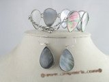 sset005 15*25mm tear-drop mother of pearl shell bracelets and earrings set