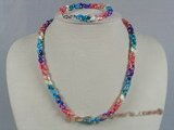 SSET026 Three strands multi-color oval shell necklace wholesale