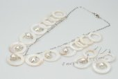 sset031 Hand Crafted Cultured Pearl and Circles shell Chain Necklace