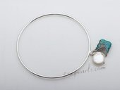 stcbr002 Fashion Silver toned copper Bangle bracelets with coin pearl&Turquoise