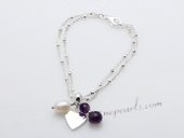 stcbr004 Elegant Cultured pearl& Amethyst Silver toned Chain Bracelet
