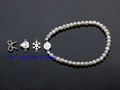 stcbr008 Hand Strung Freshwater Seed Pearl Bracelet with Silver toned Charm