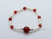 stcbr010 Hand Strung Freshwater Rice Seed Pearl&Red Agate Bracelet