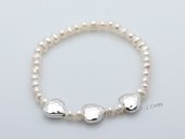 stcbr011 Fashion Freshwater Potato Seed Pearl Stretchy Braceelt with Heart Charm