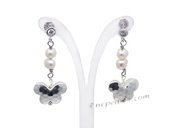 stce009 Fashion Cultured Dancing Pearl Silver toned Stud Earrings