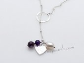 Stcn009 Fashion cultured pearl& Amethyst  silver toned metal lariat necklace