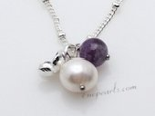 Stcn010  Elegant cultured pearl& Amethyst princess necklace for Xmas&#39s