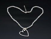 Stcn011 Delicate 11-12mm cultured potato pearl silver toned metal lariat necklace