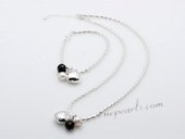 Stcset001 Designer Inspiration Silver toned Chain with Pearl&Agate Charm