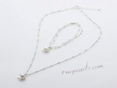 Stcset002 Fashion Cultured Plearl and Flower Charm Silver toned Chain Jewelry Set