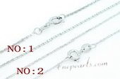 Stnc007 16inch Silver toned Copper Jewelry Chain wholesale, Bag of 10