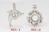 Swpm002 925silver Wish pearl pendants (cages) in flower or dolphin design