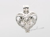 Swpm010 925 Sterling Silver Olympic Rings Heart shape Cage Pendant